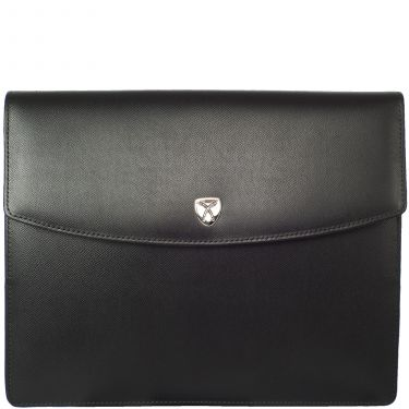Conference case briefcase A4 leather black with magnetic lock