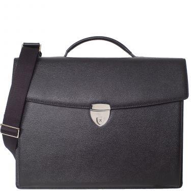 Konferenzmappe Aktentasche A4 Leder schwarz mit Laptopfach