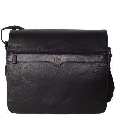 Messengerbag 15 Zoll Leder/Canvas schwarz