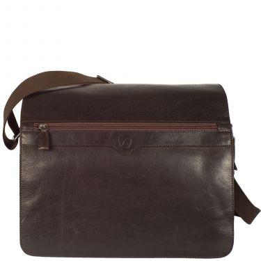 Messengerbag 15 Zoll Leder/Canvas braun