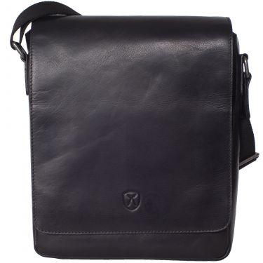 Tablet Tasche Schultertasche 10 Zoll Leder schwarz