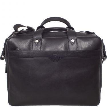 Laptoptasche Businesstasche 15 Zoll Leder schwarz 2 große Fächer
