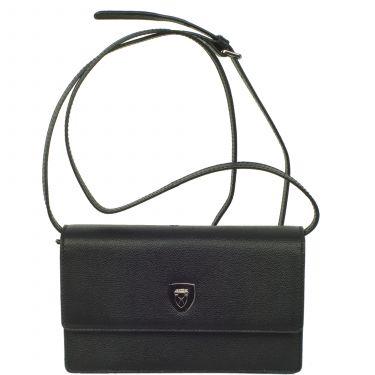 Handtasche Clutch Leder schwarz