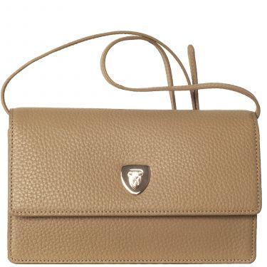 Handtasche Clutch Leder beige