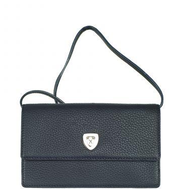 Handbag clutch leather blue