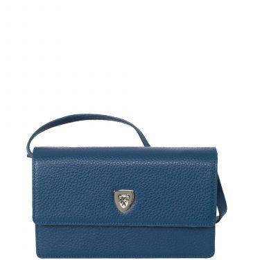 Handtasche Clutch Leder hellblau