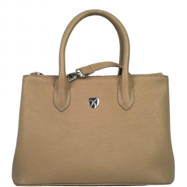 Handbag business bag 10 inch leather beige
