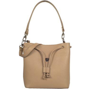 Handtasche Umhängetasche 10 Zoll Leder beige