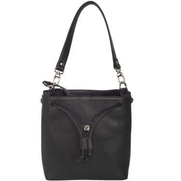 Handbag shoulderbag 10 inch leather black