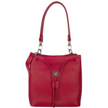 Handtasche Umhängetasche 10 Zoll Leder rot