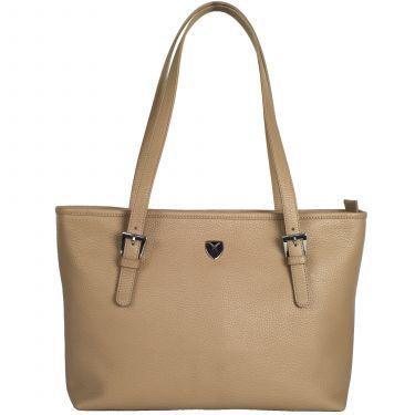 Handtasche Shopper 13 Zoll Leder beige