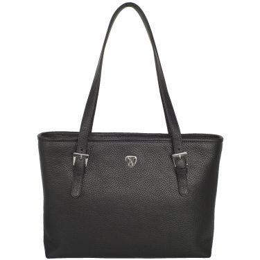 Handtasche Shopper 13 Zoll Leder schwarz