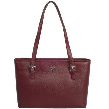 Handtasche Shopper 13 Zoll Leder bordeauxrot