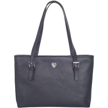 Handtasche Shopper 13 Zoll Leder blau