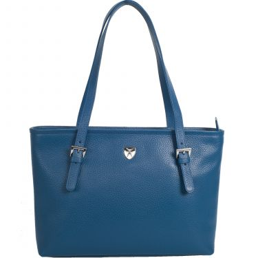 Handtasche Shopper 13 Zoll Leder hellblau