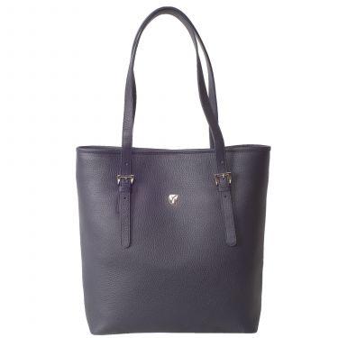 Handbag shopper 13 inch leather blue