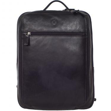 Businessrucksack Lederrucksack 15 Zoll Leder schwarz 2 große Fächer