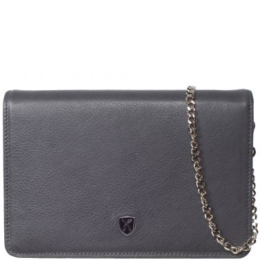 Handbag clutch leather grey