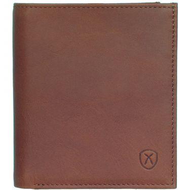 Geldbörse Portemonnaie klein Leder cognac mit Münzfach