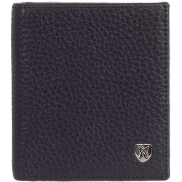Wallet purse small leather black with coin compartment
