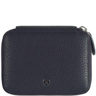 Geldbörse Portemonnaie Leder schwarz mit Reißverschluss