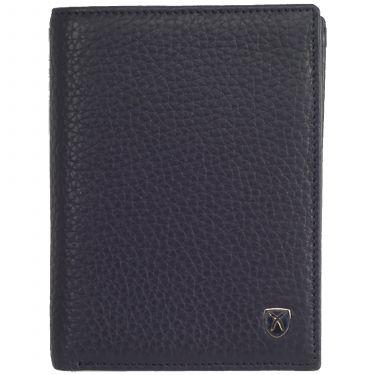 Geldbörse Portemonnaie Leder blau Hochformat