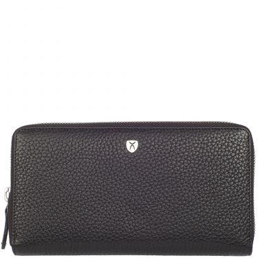 Wallet purse leather black with all-round zip