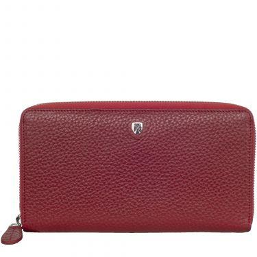 Geldbörse Portemonnaie Leder rot mit Rundumreißverschluss