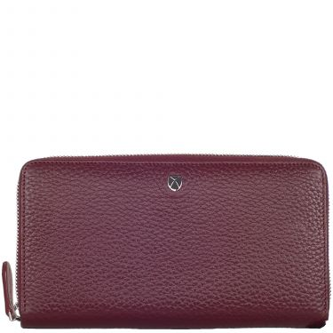 Wallet purse leather bordeaux with all-round zip