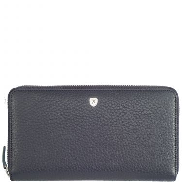 Wallet purse leather blue with all-round zip