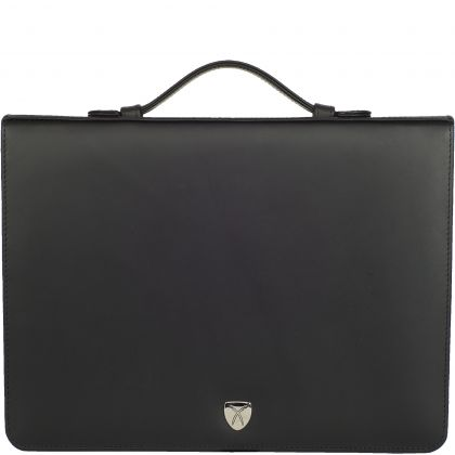 Conference case briefcase A4 leather black with ring binder mechanism