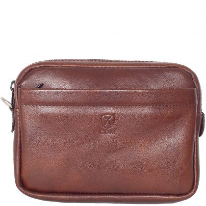 Wristbag pouchbag leather cognac