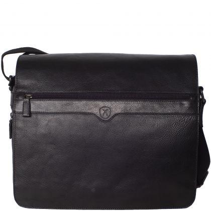 Messenger bag 15 inch leather/canvas black