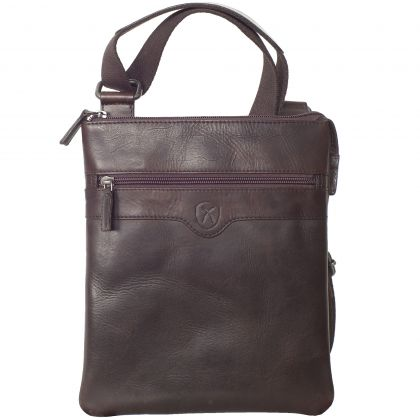 Tablet bag crossover 10 inch leather brown