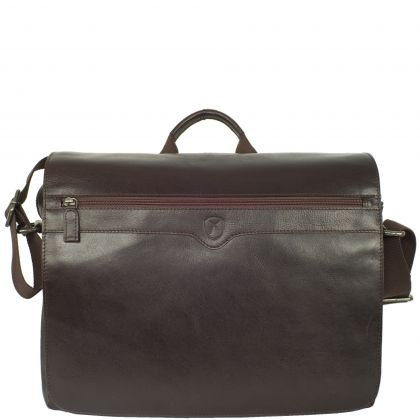 Messenger bag 15 inch leather brown