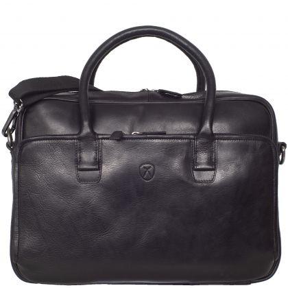 Laptoptasche Businesstasche 15 Zoll Leder schwarz mit Doppelgriff