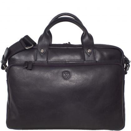 Businesstasche 15 Zoll Leder schwarz