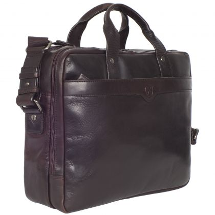Laptop case business case 15 inch leather brown large compartments