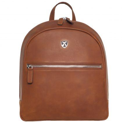 Ladies' backpack leatherbackpack 10 inch leather cognac