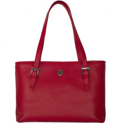 Handbag shopper 13 inch leather red