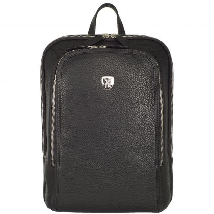 Business backpack leather backpack 15 inch leather black