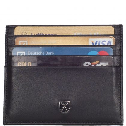 Card case leather black 9 compartment