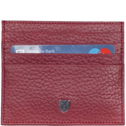 Card case leather red 9 compartment