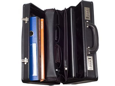 Briefcase with vertical compartments