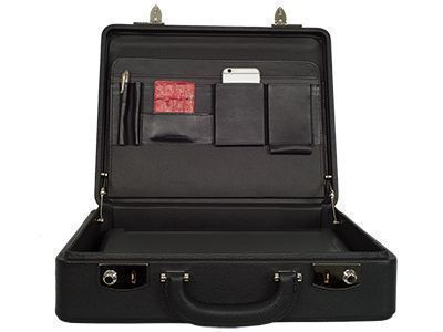 Briefcase with leather lining
