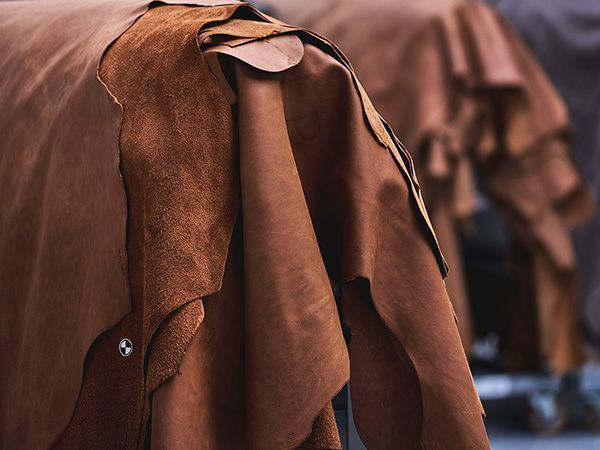 Vegetable tanned hides in tipical light brown shade