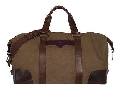 Reisetasche aus olivfarbenem Canvas mit Griffen und Ecken aus Leder