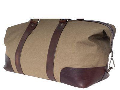 Reisetasche aus Canvas mit Ecken aus braunem Leder