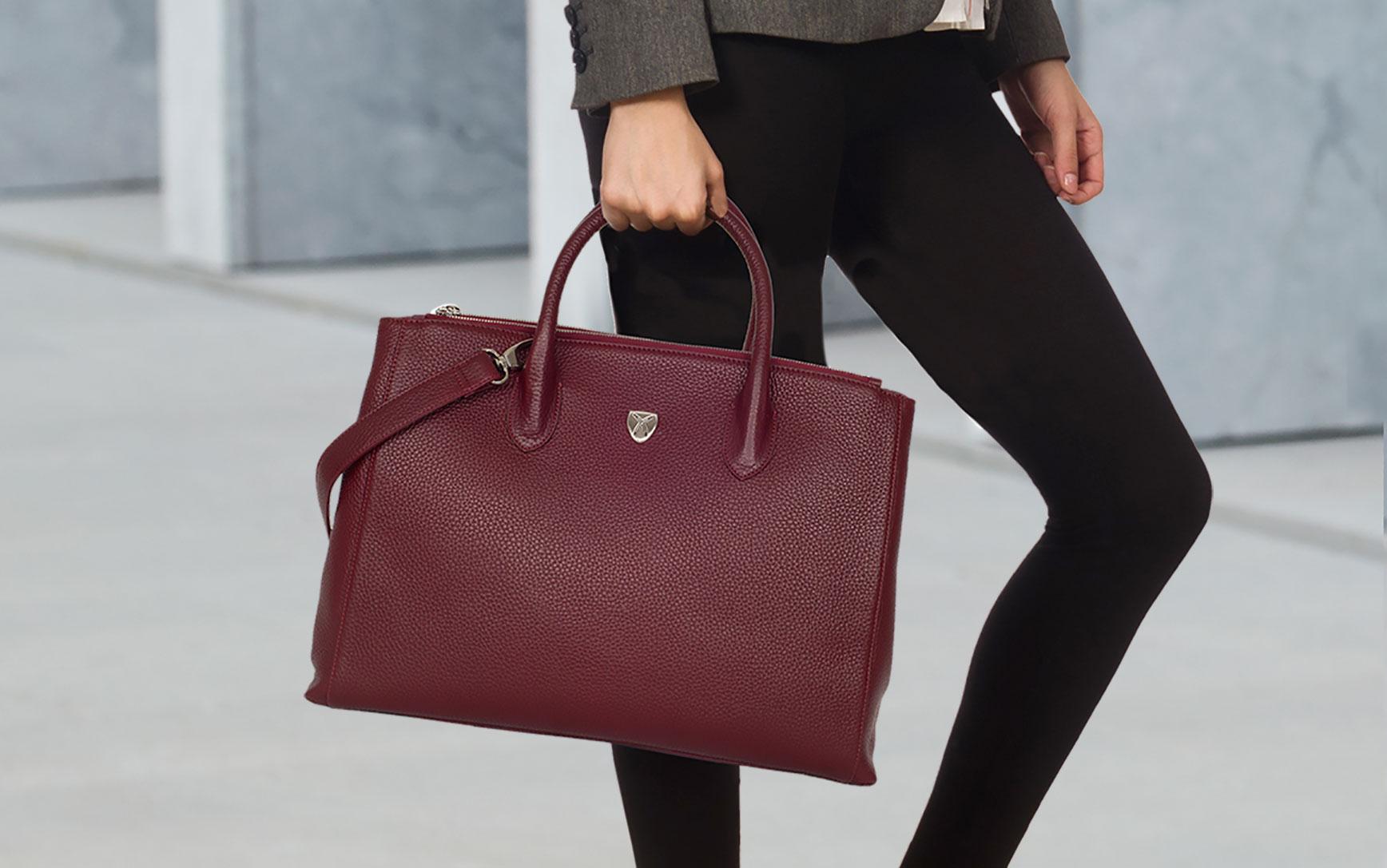 Damen Businesstasche Handtasche 15 Zoll Leder bordeauxrot