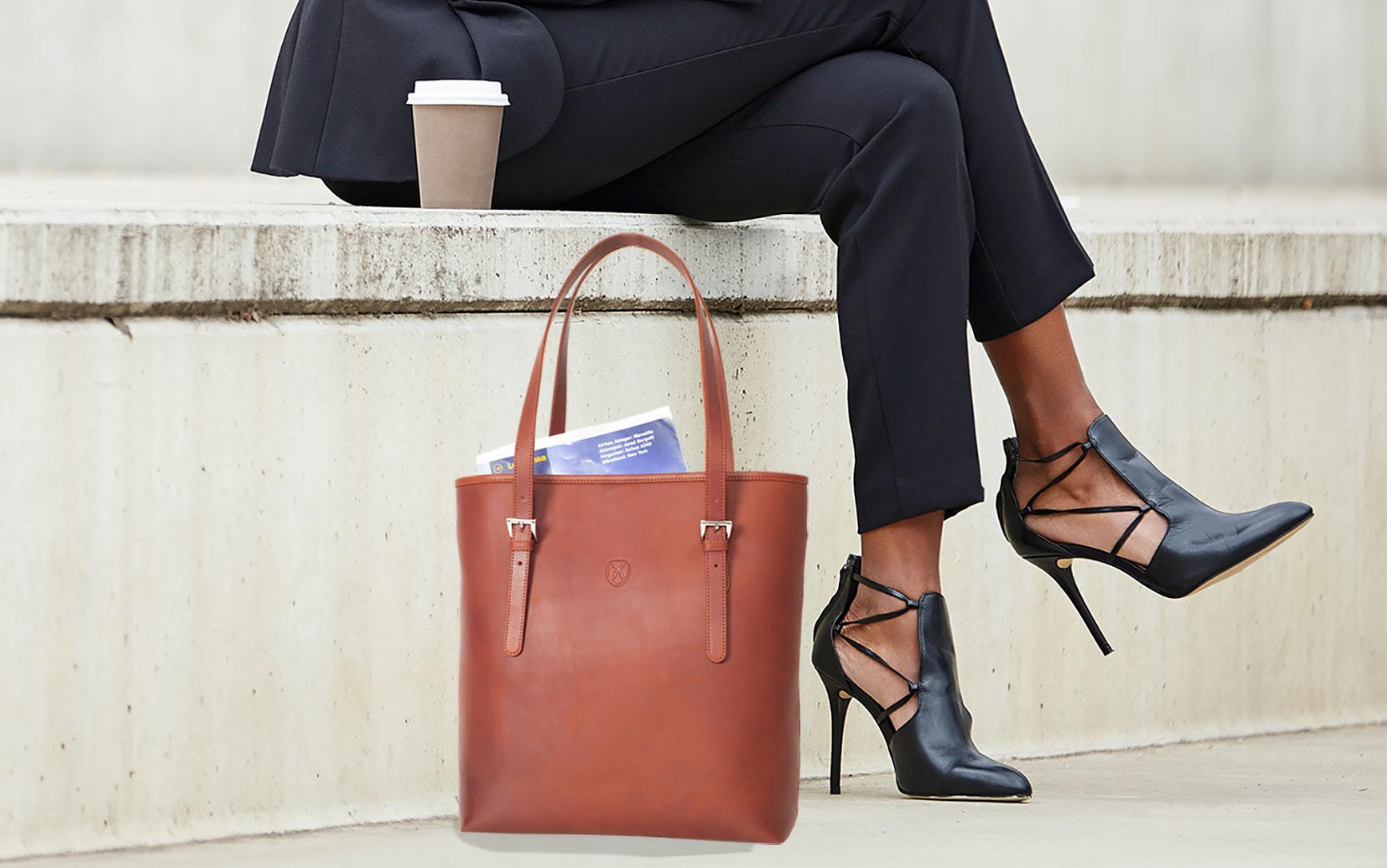 Handtasche Shopper Leder cognac